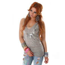 Deep V-Neck Sequin Embellished Heather Grey Tunic Length Sweater Vest