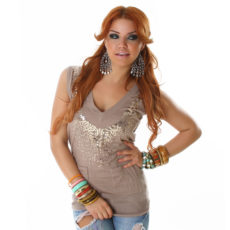 Deep V-Neck Sequin Embellished Tan Beige Tunic Length Sweater Vest