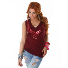 Deep V-Neck Sequin Embellished Maroon Burgundy Tunic Length Sweater Vest