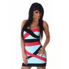 Strapless Bandage Color Block Teal, Pink & Black Mini  Club Dress