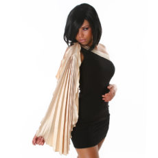 Sleek Black and Champaign Beige Grecian One Shoulder Draped  Mini Dress