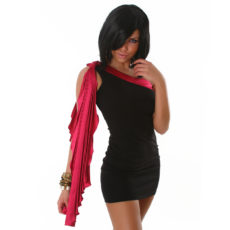 Sleek Black and Fusha Grecian One Shoulder Draped  Mini Dress
