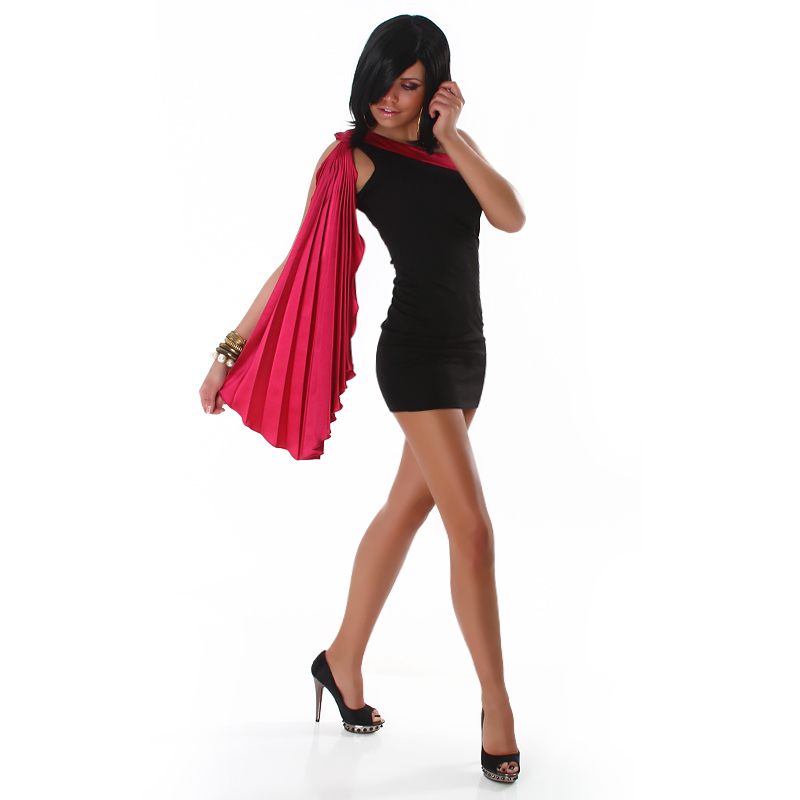 Sleek Black and Fusha Grecian One Shoulder Draped  Mini Dress