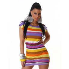 Sweet Cap Sleeve Brown Purple Striped Long Tunic with Belt