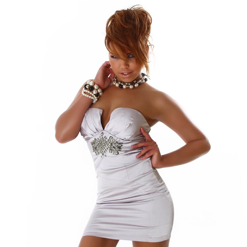Micro Mini Formal Little Silver  Dress with Jewel Embellishment