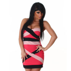 Strapless Bandage Color Block Pink & Black Mini  Club Dress