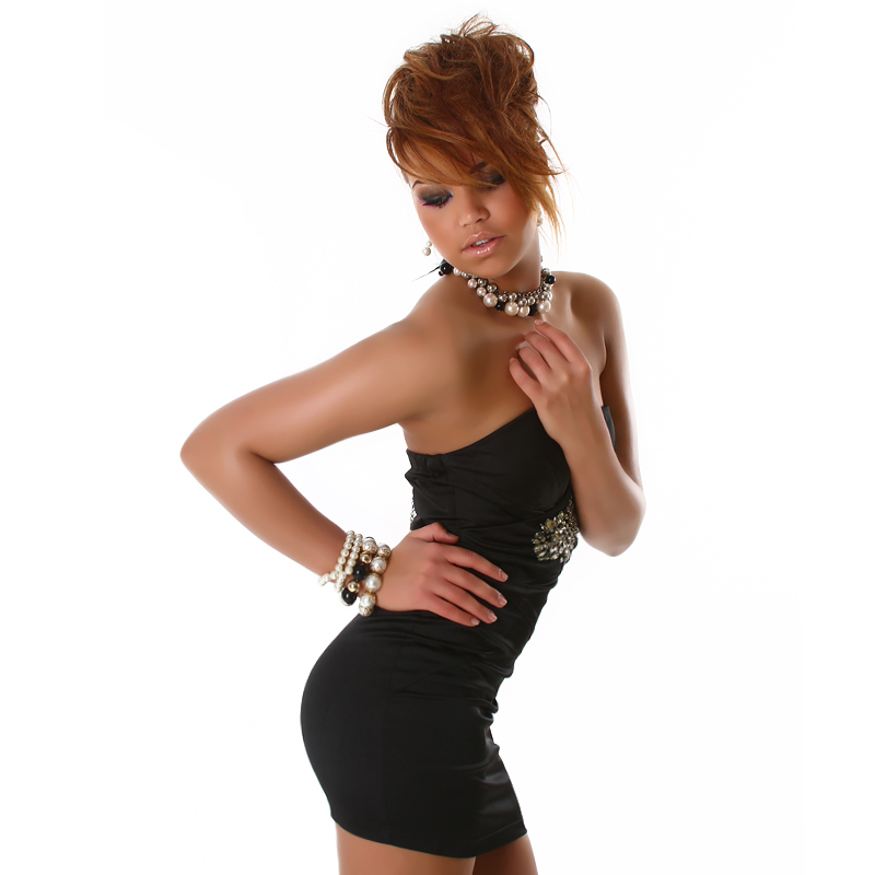 Strapless Micro Mini Formal Little Black  Dress with Jewel Embellishment