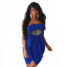 Royal Blue Strapless Sequin Wrap Grecian Mini  Dress