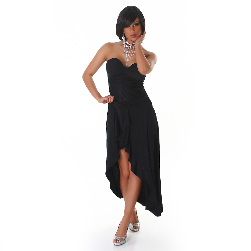 Beautiful Black Lace Strapless Sheer Hi Low Exotic Salsa  Wrap Style Dress