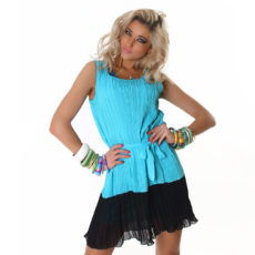 Sheer Chiffon Like Teal with Black Sleeveless Color Block Summer  Dress with Belt