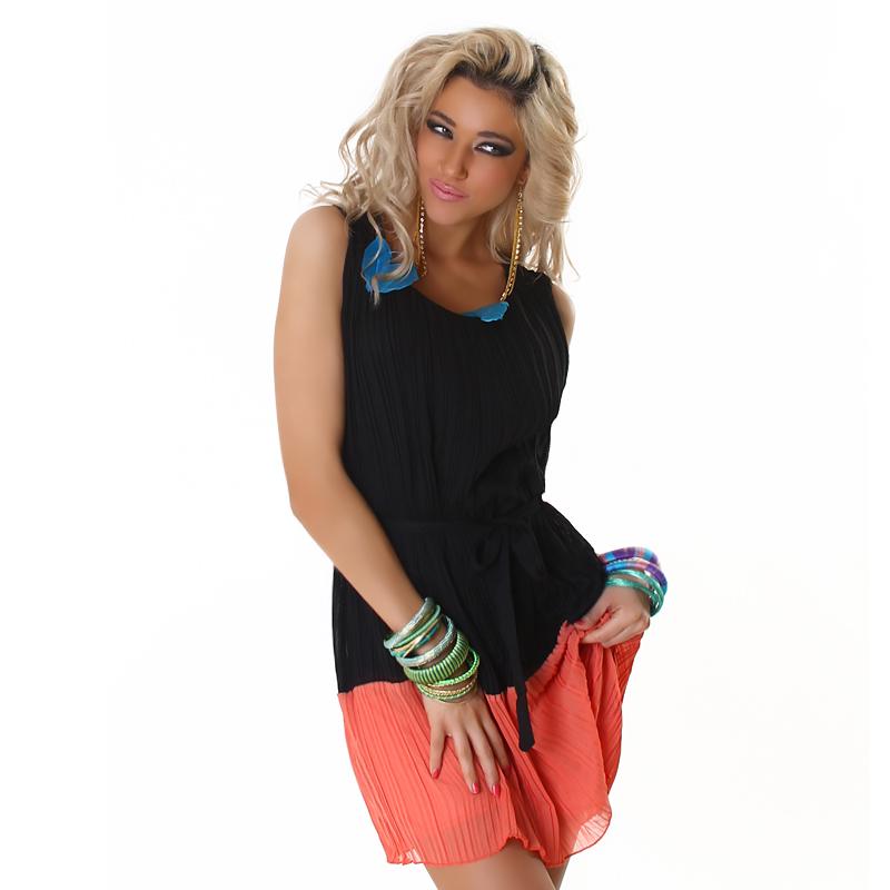 Sheer Chiffon Like Black with Orange Sleeveless Color Block Summer  Dress with Belt