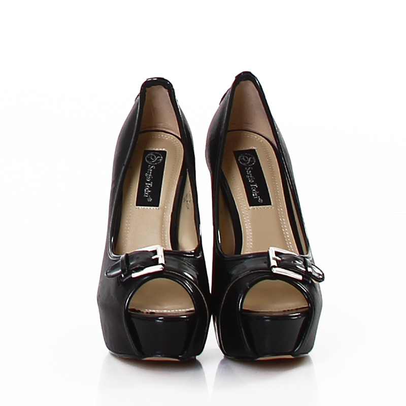 """Shimmer Black Metallic Peep Toe Platform Pumps 5"""" High Heels with Buckle Accent Shoes"""