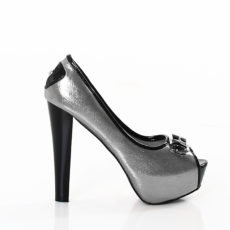 "Silver & Black Metallic Peep Toe Platform Pumps 5"" High Heels with Buckle Accent Shoes"
