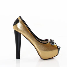 "Gold & Black Metallic Peep Toe Platform Pumps 5"" High Heels with Buckle Accent Shoes"