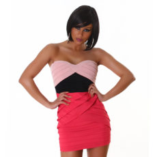 Strapless Bandage Layered Color Block Pink & Black Mini  Club Dress