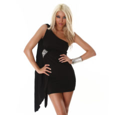 Sleek Black Embellished Grecian One Shoulder Draped  Mini Dress