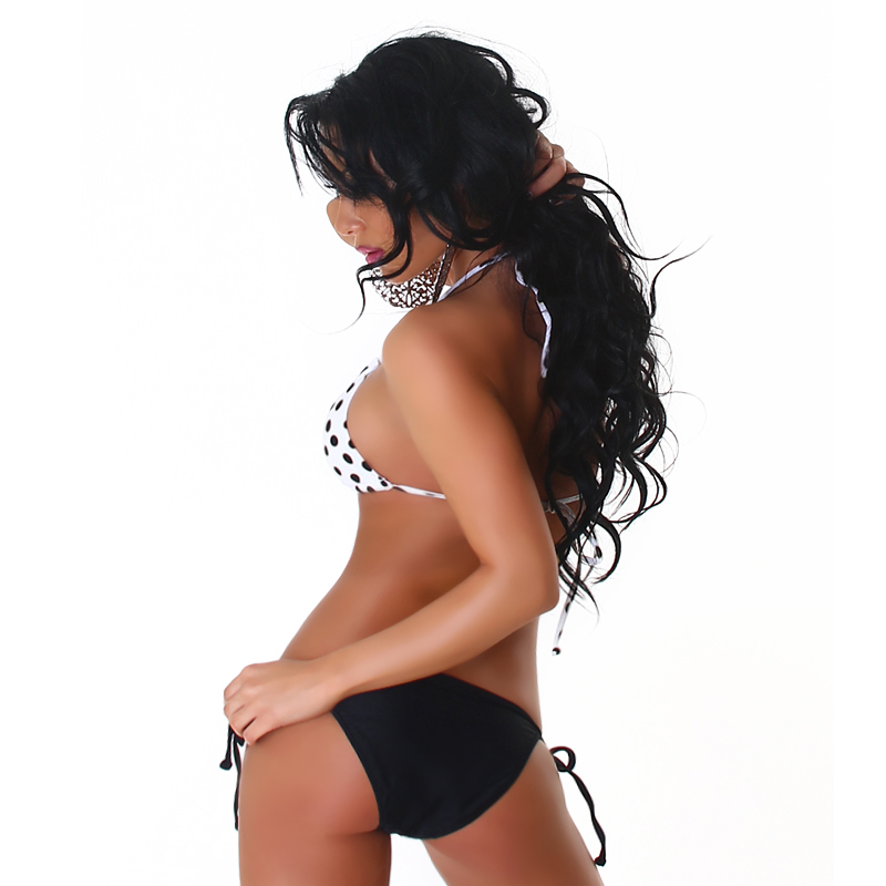 Black Gold & White Triangle 2 Piece String Polka Dot Bikini  Swimsuit