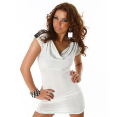 White Cowl Neck Cap Sleeve Fitted Mini Dress or Fashion Tunic with Embellished Studs Chains