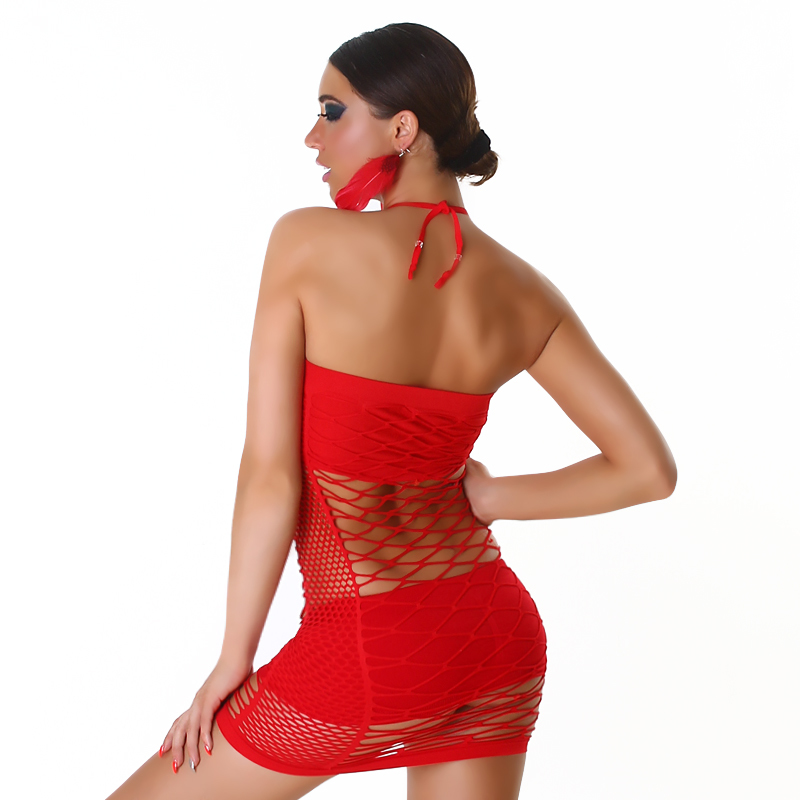 Red Exotic Tube Fishnet Halter Micro Mini Club Dress or Lingerie