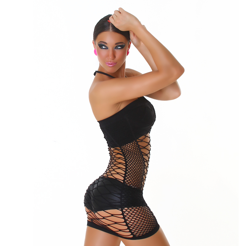 Black Exotic Tube Fishnet Halter Micro Mini Club Dress or Lingerie