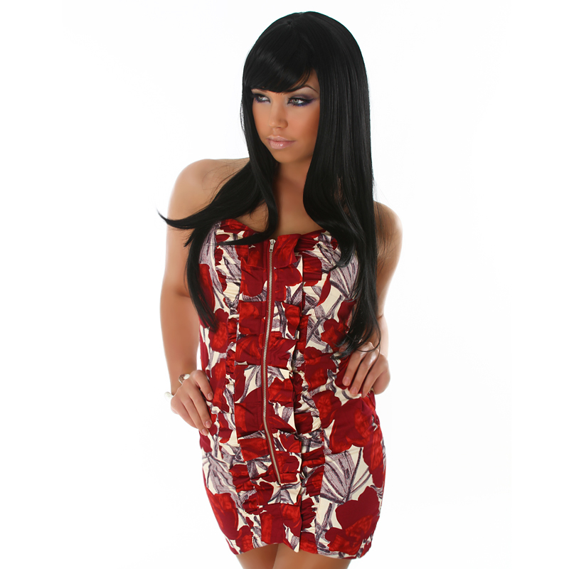 Red, Maroon & Cream Summer Floral Strapless Sweetheart Neckline Zip Front Ruffle   Dress