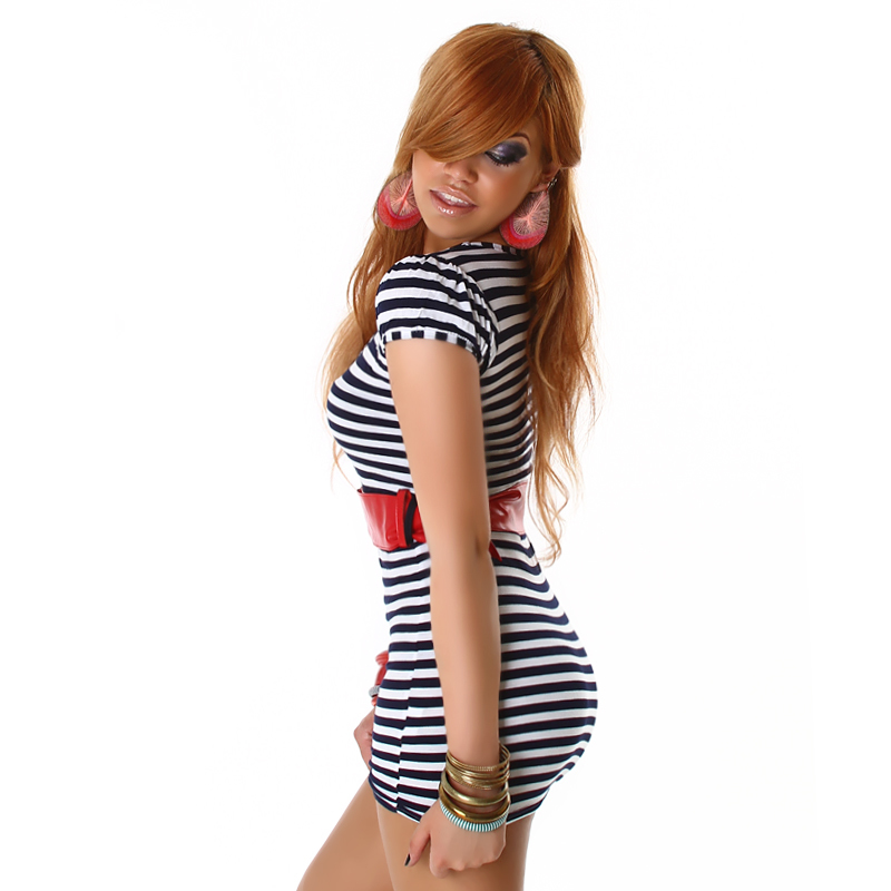 Sweet Casual White & Navy Blue Striped Scoop Neck Mini Dress with Red Faux Leather Belt