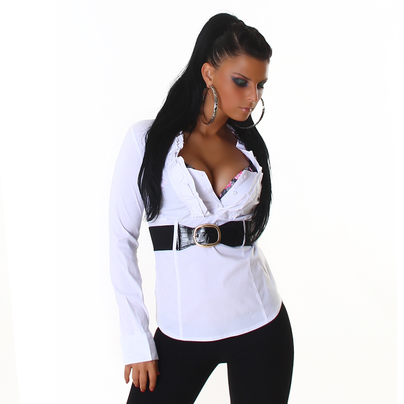 Career Styled Flirty Tapered White Ruffle Collar Long Sleeve Wide Cuff  Sexy Slimming Blouse Top with Black Belt