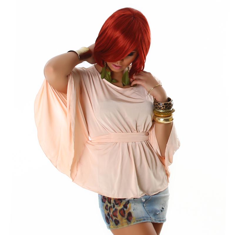 Rose Champagne Sleek  Bat Sleeve Modern  Boho Chic Blouse Kimono Dolman