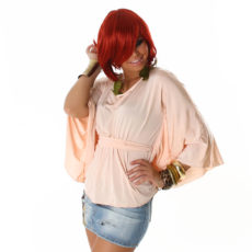 Rose Champagne Sleek  Bat Sleeve Modern  Boho Chic Blouse Kimono Dolman
