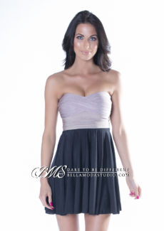 Beige & Black A Line Bandage Dress with Flowing Skirt