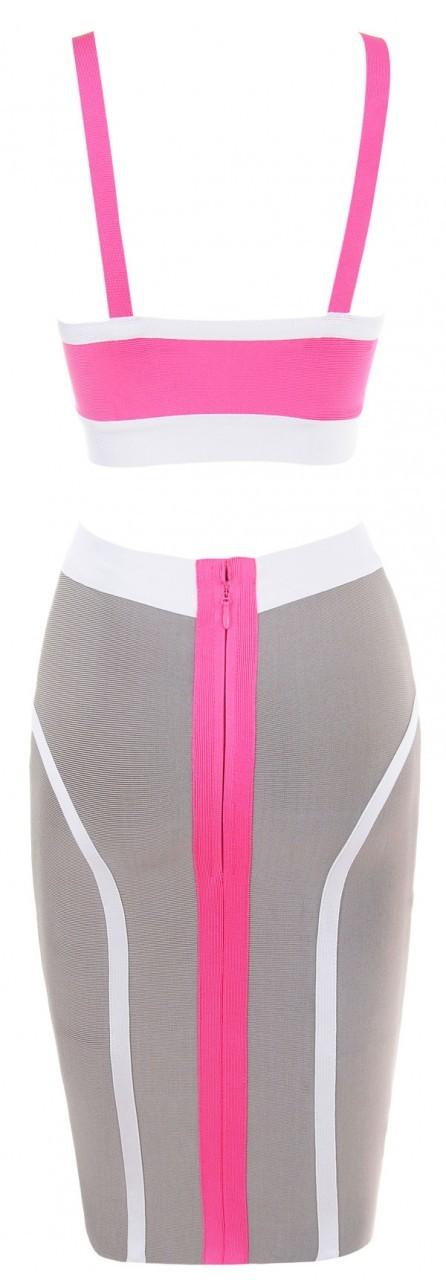 Pink & Grey Bandage Two Piece Celeb Inspired Bandage Dress