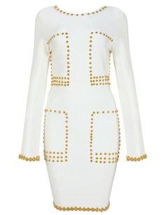 Sexy Studded White Couture Bodycon Bandage Dress Like Kim Kardashian Wore