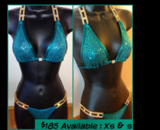 Deep Teal Blue Sequin & Gold Rhinestone Competition Bikini