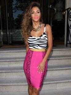 Hot Pink Zebra Animal Print Bandage SKIRT Celeb Inspired -ASO Nicole Scherzinger