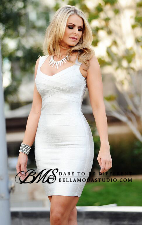 Silver Metallic Foil Cross Front Bandage Dress