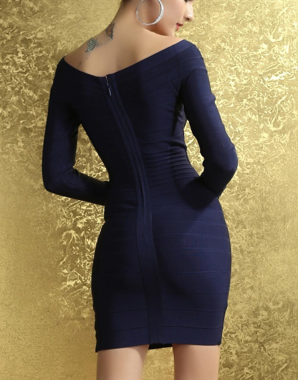 Royal Blue Off the Shoulder Long Sleeve Celeb Inspired Bandage Dress