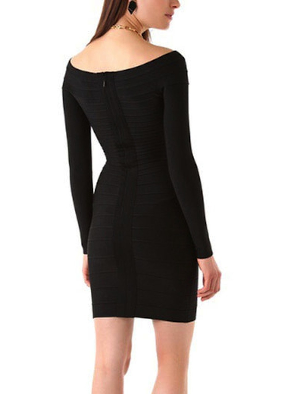 Black Little Off the Shoulder Long Sleeve Bandage Dress