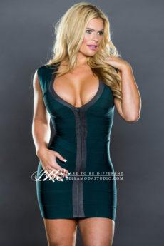 Dark Green & Grey Front Zip Celeb Inspired Bandage Dress