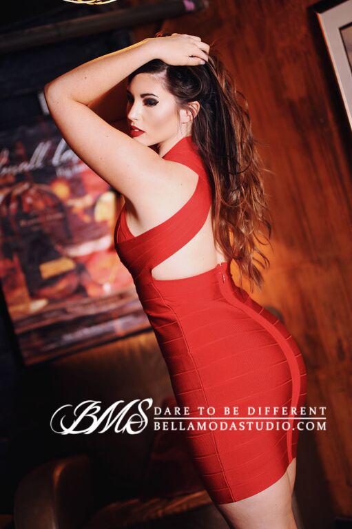 Red Deep V Halter Styled Cross Back Celeb Inspired Bandage Dress