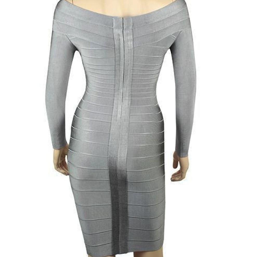 Grey Silver Off the Shoulder Long Sleeve Celeb Bandage Dress