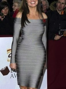 Grey Silver Off the Shoulder Long Sleeve Celeb Bandage Dress