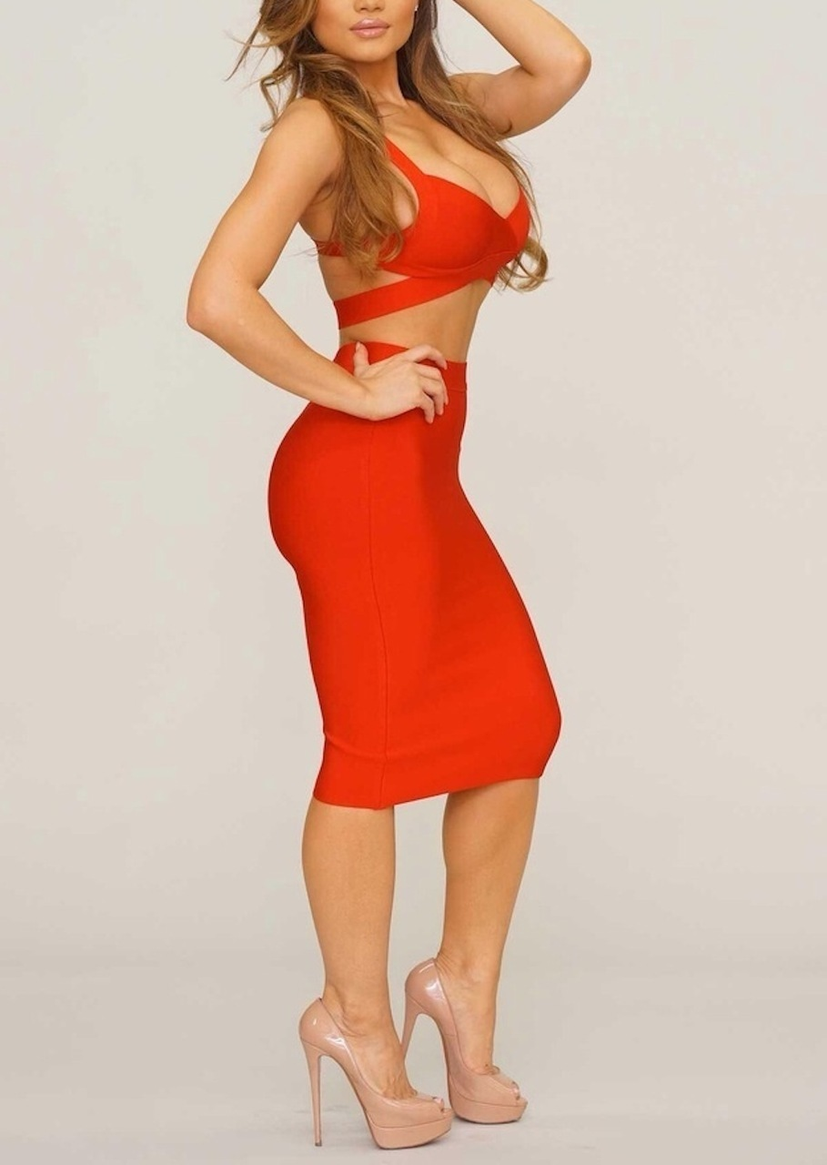Red Two Piece Crop Halter & High Waisted Bandage Two Piece Dress