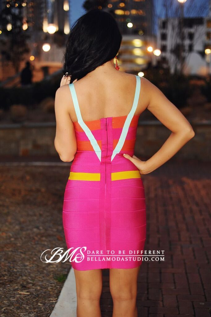 Hot Pink Color Block Halter Style Celeb Bandage Dress