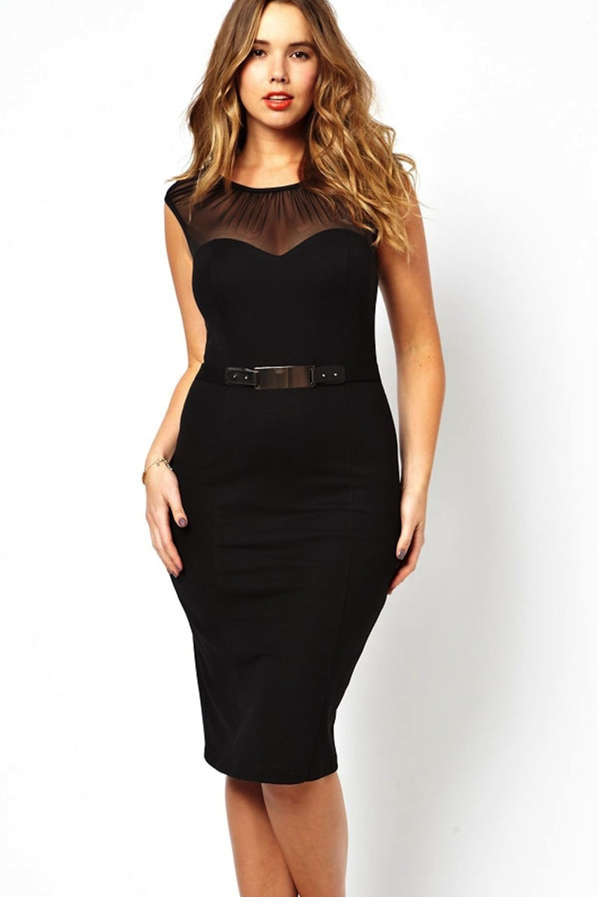 Black Little Belted Mesh Sweetheart Midi Dress PLUS SIZE XL : LL Styles