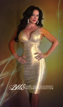Gold Deep V-neck Foil Bandage Dress