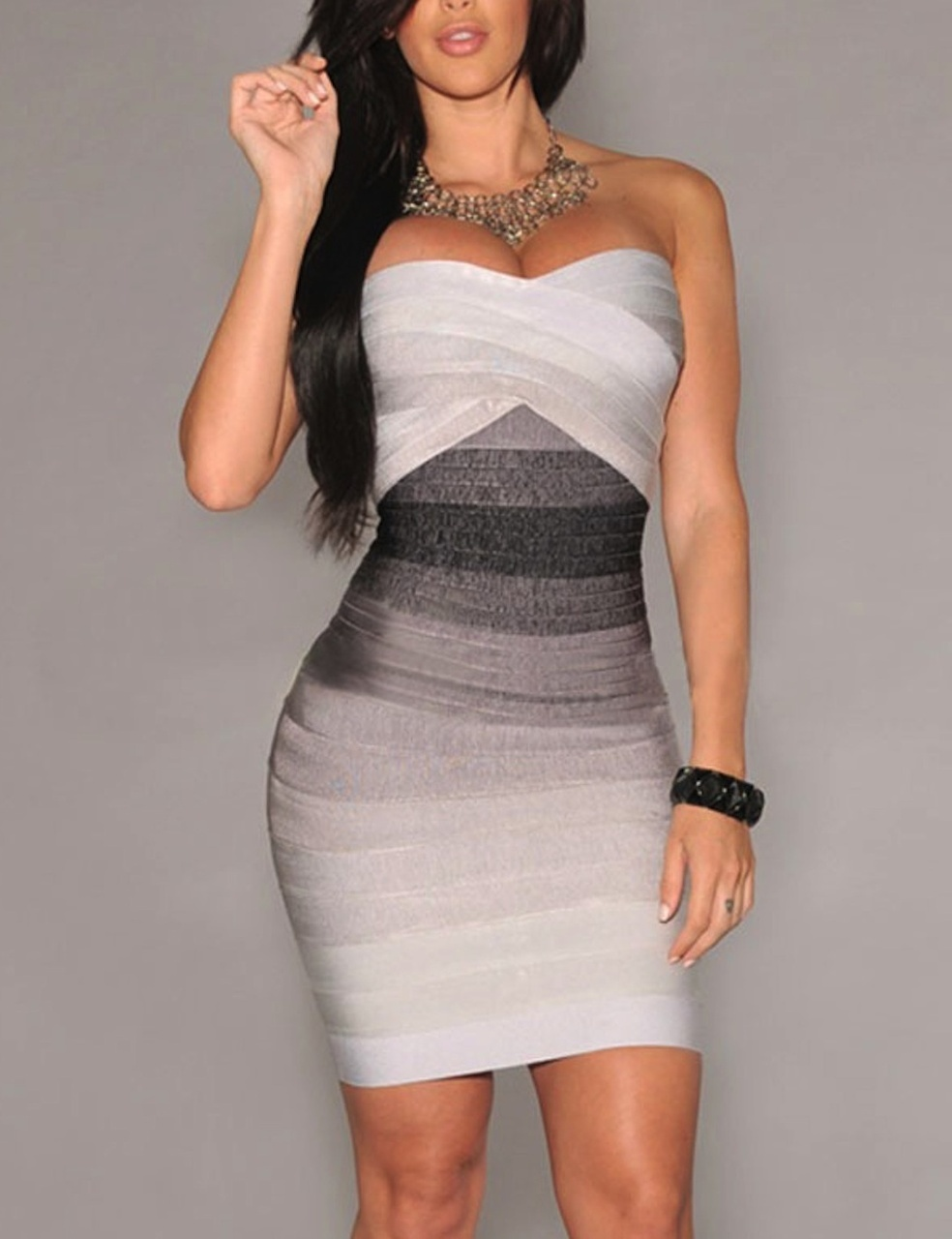 Grey Strapless Ombre Gradient Bandage Dress