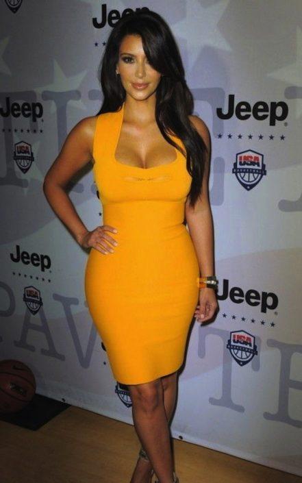 Orange Scoop Neck Cut Out Celeb Inspired Bandage Dress