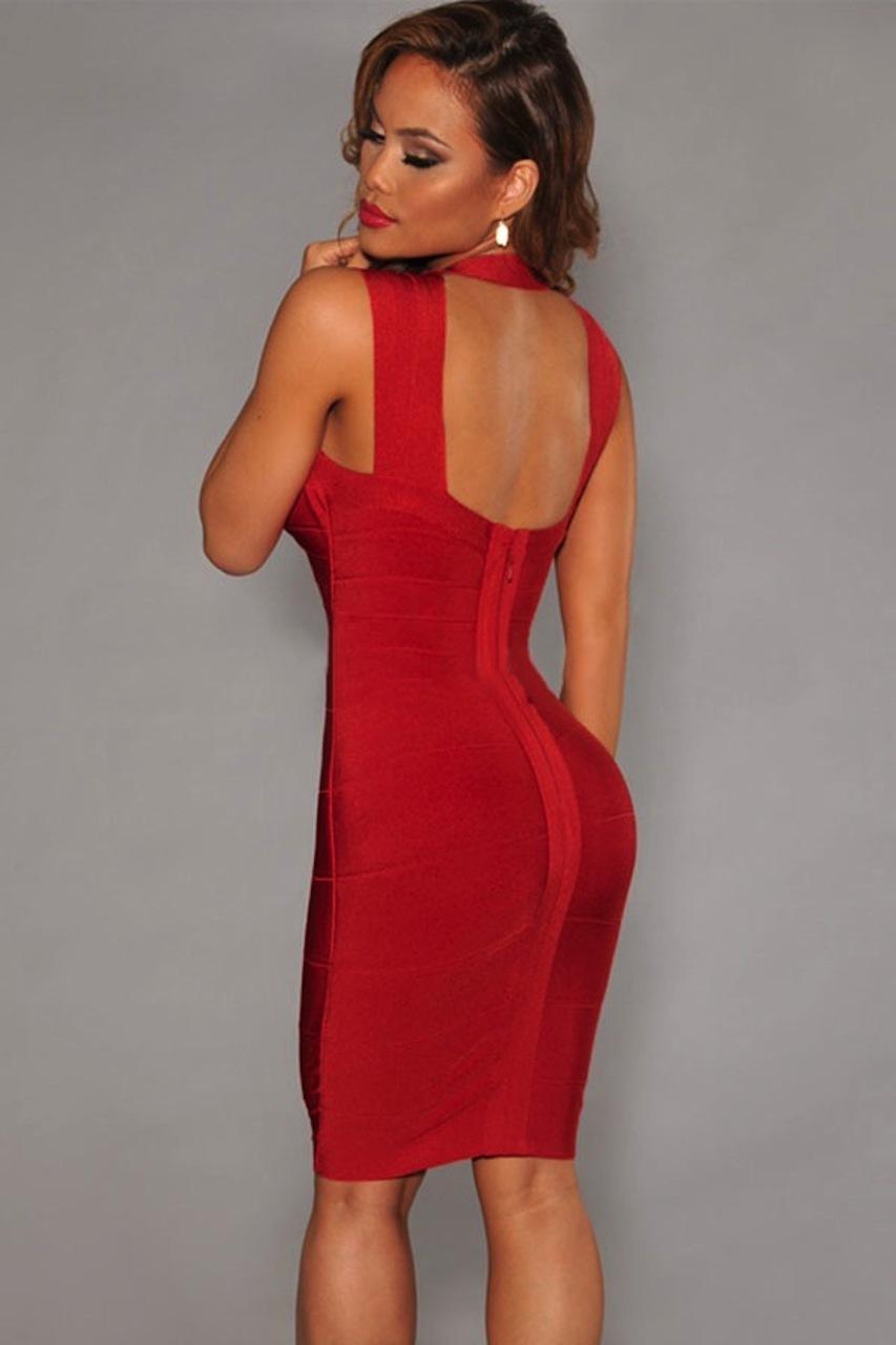 Red Crisscross Bust Mini Celeb Inspired Bandage Dress