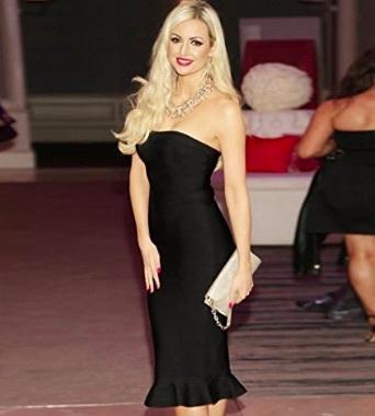 Black Strapless Corset Style Ruffle Bottom Midi Celeb Inspired Bandage Dress