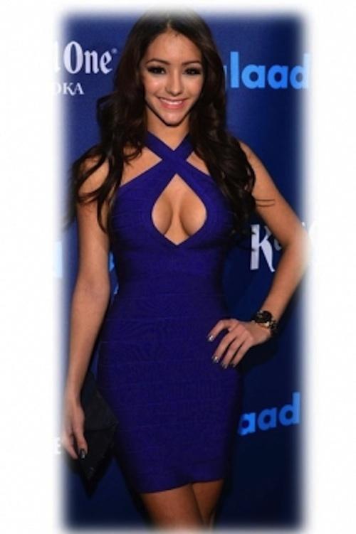 Dark Blue Criss Cross Front Keyhole Bust Bandage Dress